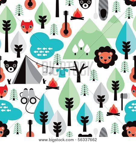 Seamless safari wild life lion illustration kids background pattern in vector