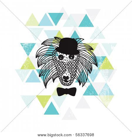 Postcard cover design hipster baboon monkey with bow and hat geometric art in vector