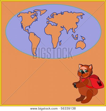 Cute bear with a backpack and photocamera in cartoon stile, vector illustration to the concept of tourism. Globe siluet in the background.
