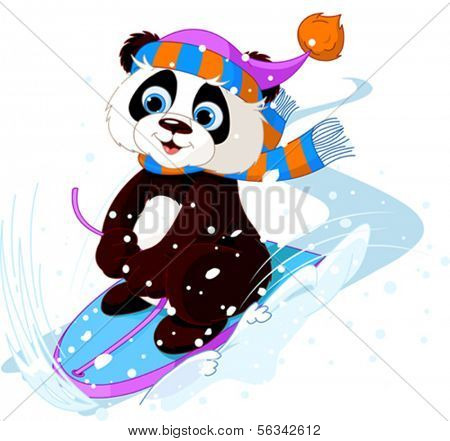 Cute panda sledding downhill winter snow mountain