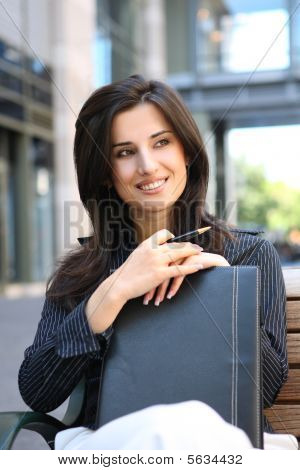 Pretty Business Woman Outside Office