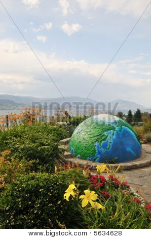 Garden with globe by Okanagan lake