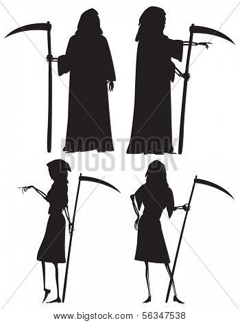 vector silhouettes of The Grim Reaper and his wife