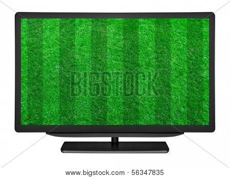 flat television on the football field grass backgrounds