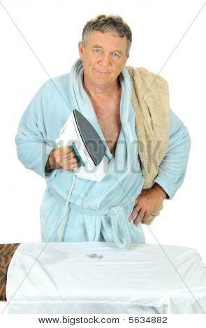 Grumpy Man Ironing