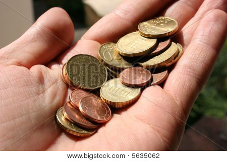 Euro coins in a human hand