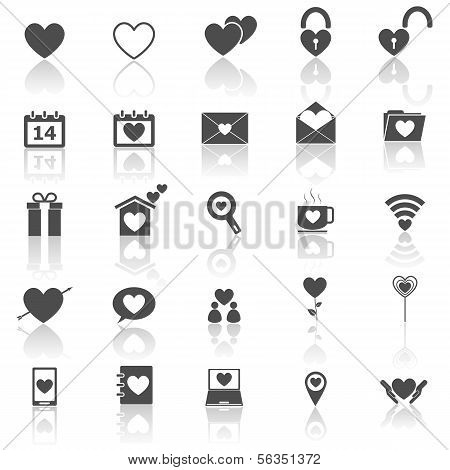Love Icons With Reflect On White Background
