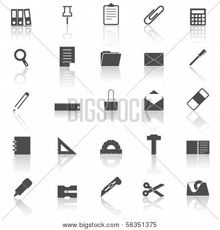 Stationary Icons With Reflect On White Background