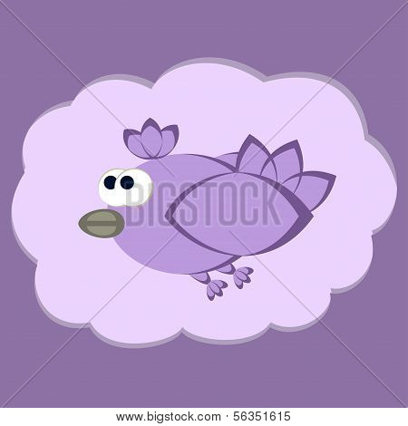 Funny Flying Bird Vector Illustration