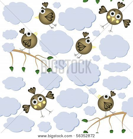 Cartoon Birds Seamless Pattern. Vector Illustration