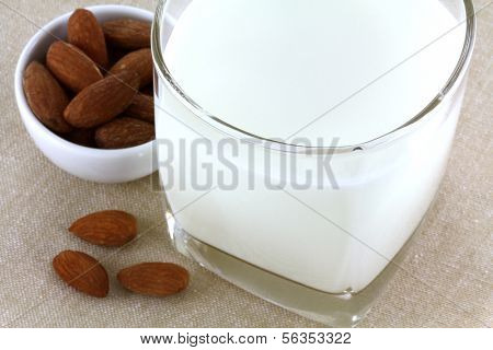 A glass of fresh Almond Milk used as a substitute for dairy milk