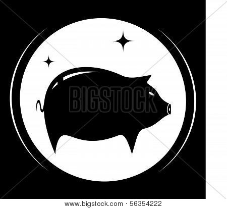 pig silhouette - meat food symbol