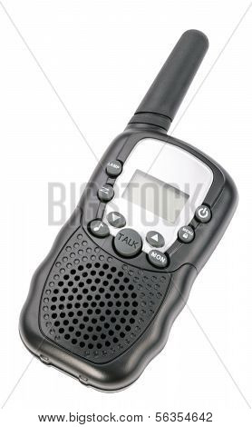 Walkie Talkie In Black Plastic Case Isolated
