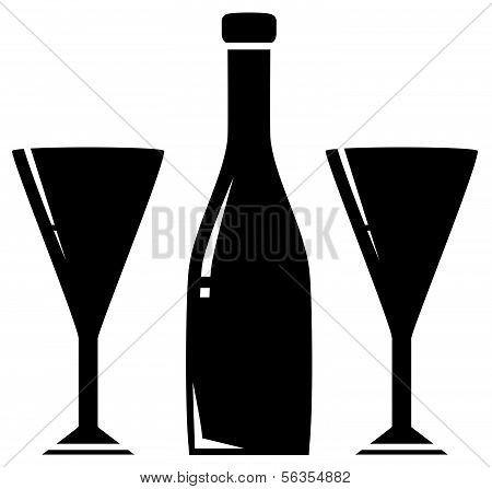 two glass and wine bottle