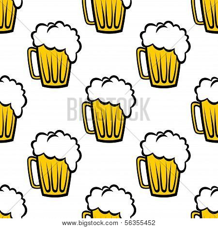 Seamless Pattern mit Humpen schaumiges Bier