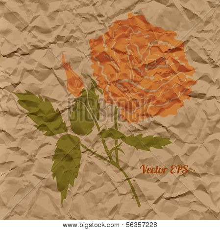 Vector red rose, creased paper