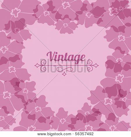 Heart form, vintage flower frame