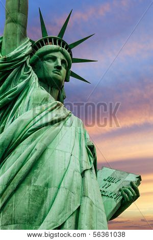 Statue Of Liberty Under Colorful Sky