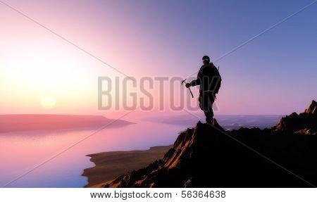 Climber ascends ea vershishu mountains.
