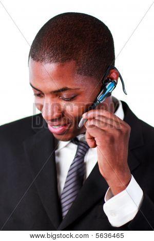 Businessman Using An  Earpiece