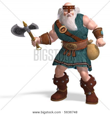 An Old Dwarf With An Axe