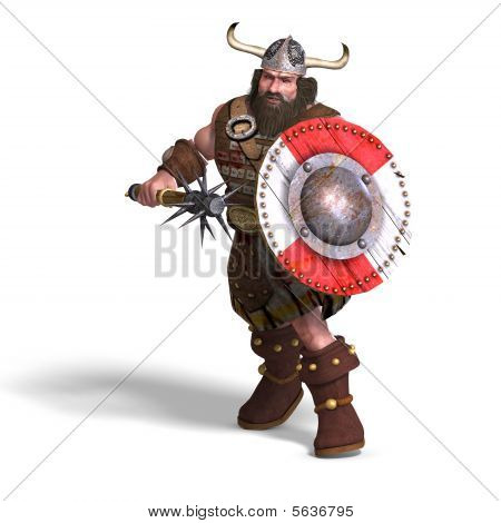 Fantasy Dwarf With Spike Club And Shield