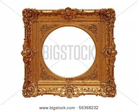 Antique golden Frame, isolated on white