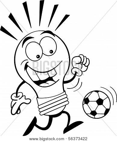 Cartoon Light Bulb Playing Soccer (Black & White Line Art)