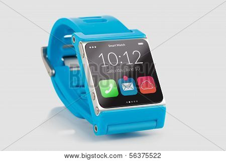 Blue Smart Watch Close Up