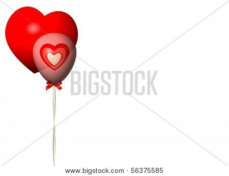 Classic Red Valentine with Pink Balloon