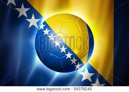 Soccer Football Ball With Bosnia And Herzegovina Flag