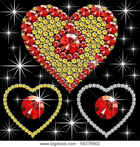 diamond hearts of different color on black background