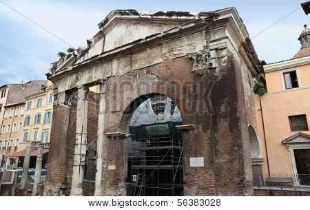 Porticus Octaviae Ancient Roman Structure In Rome Italy