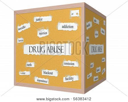 Drug Abuse 3D Cube Corkboard Word Concept