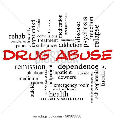 Drug Abuse Word Cloud Concept In rode hoofdletters