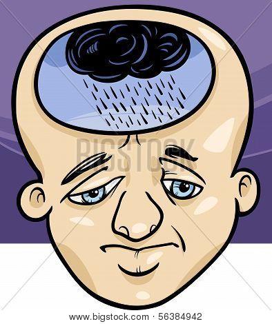 Sad Man Concept Cartoon Illustration