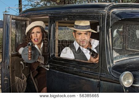 Gangster Woman Firing Gun From Car
