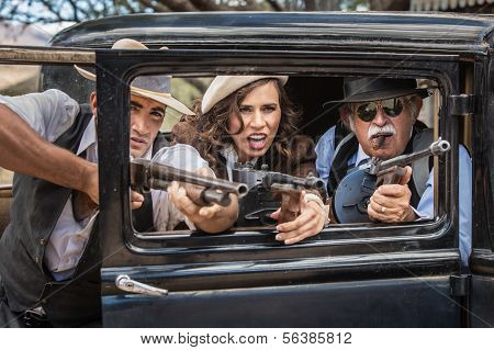 Gangsters Shooting From Car