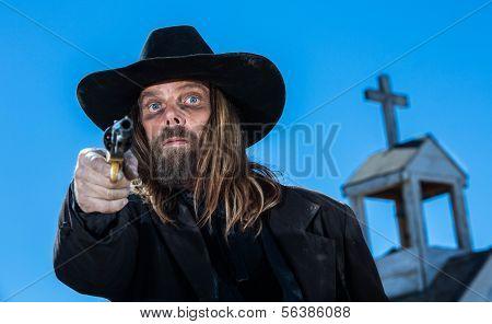 Serious Cowboy With Gun