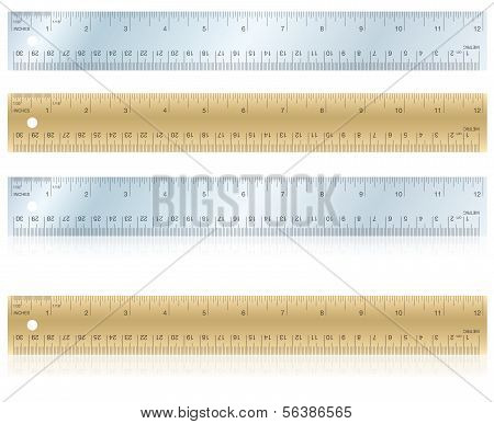 Metal And Wood Rulers