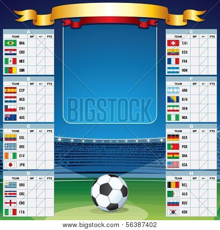 Soccer Background team rosters and flagse. Vector Set
