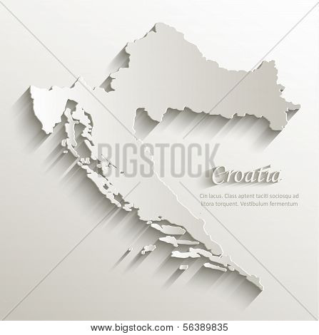 Croatia map card paper 3D natural vector