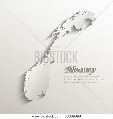 Norway map card paper 3D natural vector