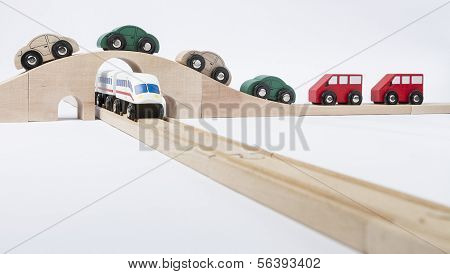 Toy Traffic With Car And Train
