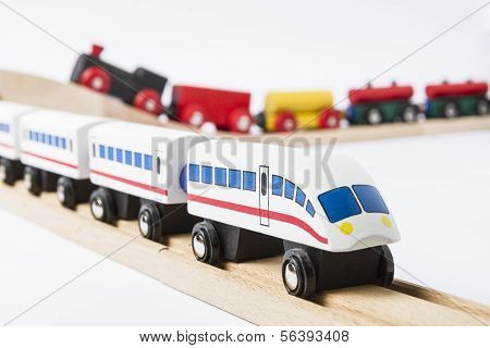 Wooden Toy Trains On Railway