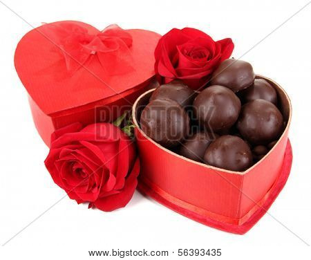 Chocolate candies in gift box, isolated on white