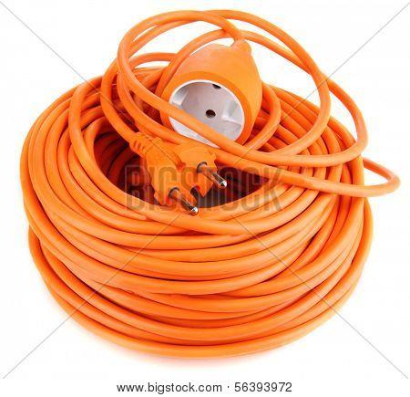Cable de extensión aislado en blanco