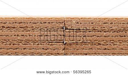 Stake of wafers with chocolate. Close up.