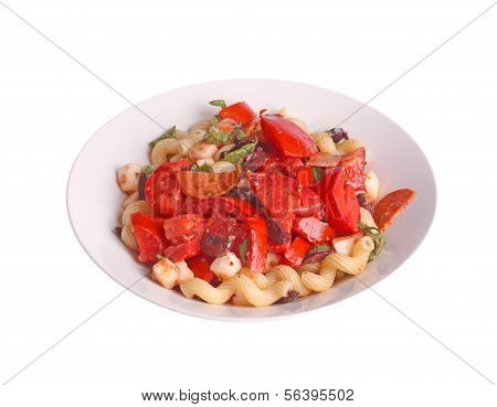 Cold Pasta Salad With Tomatoes, Olives, Basil, Pepperoni And Mozzarella