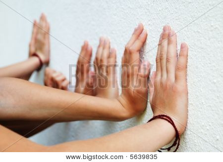 Many Childran Hands Put On The Wall